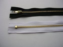Zips kovový mosadz - dĺžka 10cm